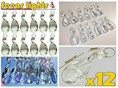 12 Chandelier Drops Glass Crystals Oval Beads Vintage Wedding Droplets Prisms Bn