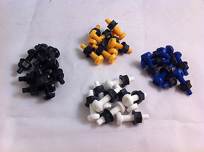 32 Pack Plastic Nylon Bolt & Nut Yellow White Black Blue Number Plate Screws Kit