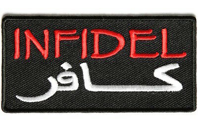 Biker Leather Jacket Vest Patch INFIDEL WITH ARABIC Sew/Iron Motorcycle Rider
