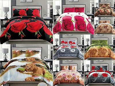 4PC Floral Animal 3D Desings Duvet Cover Bedding Set - 4 Sizes