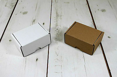 "Postal Cardboard Boxes White or Brown 4"" x 3"" x 2"" Small Mailing Shipping Carton"