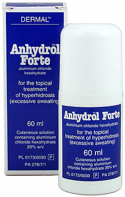2 x Anhydrol forte Roll on 20% 60ml AntiPerspirant excessive sweating treatment