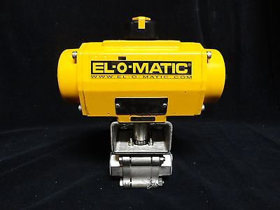 "(NEW) * EL-O-MATIC Pneumatic Actuator ES0065 with HABONIM 1"" SS BALL VALVE"