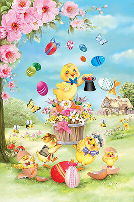 """Chick Magic Easter House Flag Eggs Butterfly Spring Floral Decorative 28"""" x 40"""""""