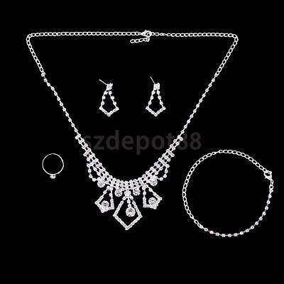 Fashion Lady Jewelry Set Crystal Statement Necklace Earrings Ring Bracelet