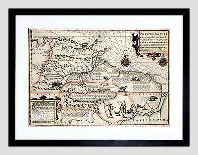 Map Antique Guyana Caribbean South America Black Framed Art Print B12X7048