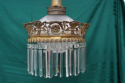 6 Vintage Halophane 1918 Gilded Crown of Prisms Chandelier Ceiling Light Fixture