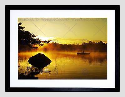 MORNING FOG FISHING LAKE BROWN SEPIA SILHOUETTE PHOTO ART PRINT POSTER BMP1254A
