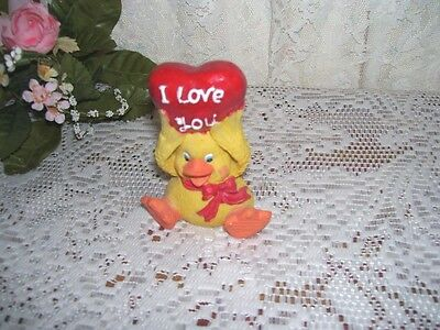 I Love You Figurine Duck With Heart