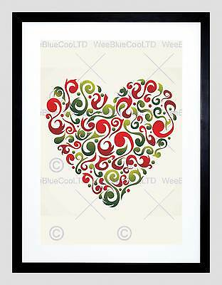 Painting Abstract Love Heart Shape Inset Red Swirl Vector Framed Print B12X8243