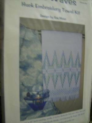 Blue Waves Huck Embroidery Towel Kit 15x26 Inches, Design By Sue Meier