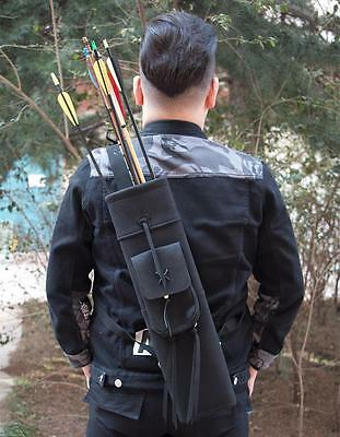 Three-points Leather Archery Arrows Back Quiver With Pocket Hunting Accessories
