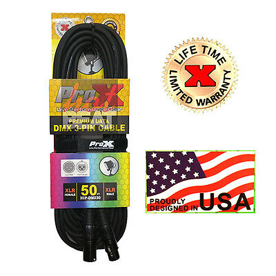 ProX 3-Pin Premium Shielded DMX Stage Lighting Data Cable, XCP-DMX50 50ft.