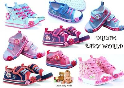 Girls canvas shoes high ankle trainers baby toddler size 3.5 - 12 UK - NEW!!