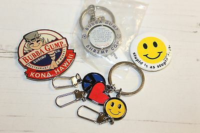 Job Lot Bundle Collection of Bubba Gump Pin, Magnet and Keyring