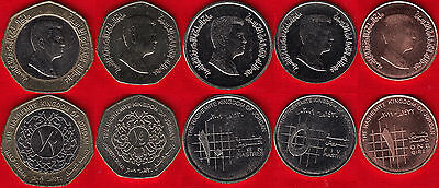 Jordan set of 5 coins: 1 qirsh - 1/2 dinar UNC