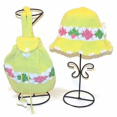 Handmade 2pc SET Crochet Cotton BACKPACK and HAT Yellow w Pink Green Flowers NEW