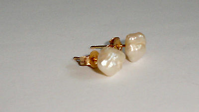 Fine, Vintage 14K Yellow Gold Post Earrings w/6 mm Large Rice/Baroque Pearls