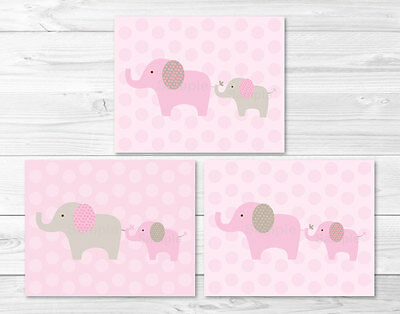 Pink & Tan Elephant Printable Nursery Wall Art