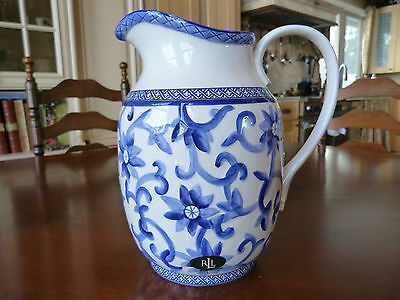 New Ralph Lauren Mandarin Blue Floral Pitcher 10""