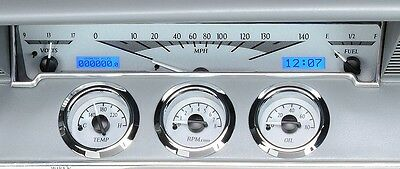1961-62 Chevrolet Impala Dakota Digital Silver Alloy & Blue VHX Gauge Dash Kit
