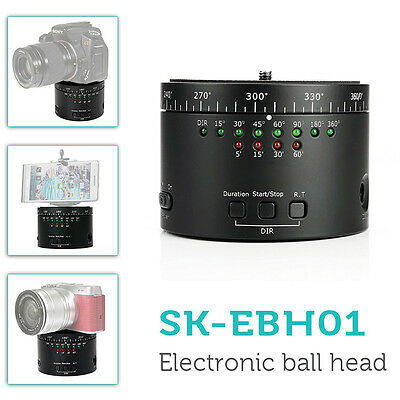 SK-EBH01 Motorized Panaramic Time Lapse Ball Tripod Head fr DSLR Gopro Camera WS