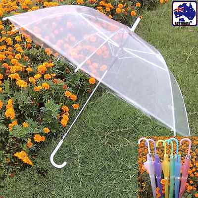 2pcs Transparent Clear Rain Umbrella Parasol Dome Candy Color Wedding HUMB013x2