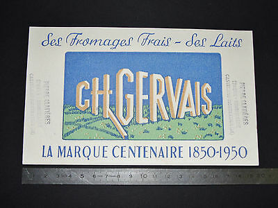 Buvard Charles Gervais 1950 Normandie Fromages Frais Laits 100 Ans