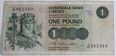 Clydesdale Bank Limited One Pound Note PreLoved Circulated
