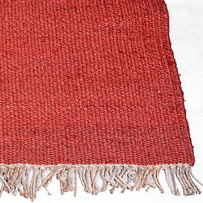 OXFORD RED NATURAL JUTE KNOTTED FLATWEAVE FLOOR RUG RUNNER 75x340cm **NEW**