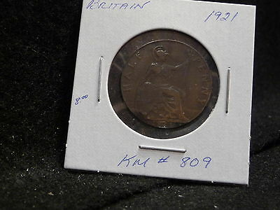 Uk (Great Britain):  1921  Half Penny     (Vf.)   (#953)  Km # 809