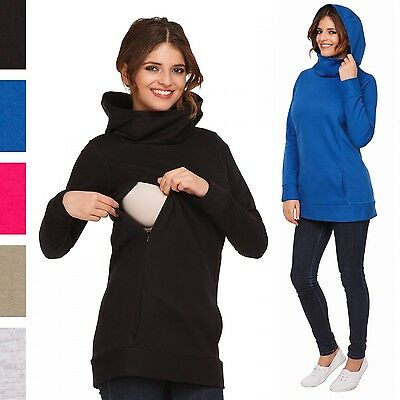 Happy Mama Women's Maternity Nursing Hoodie Top Sweatshirt Kangaroo Pocket. 053p