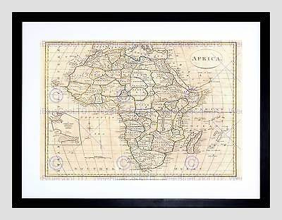 1799 Clement Cruttwell Map Africa Vintage Black Framed Art Print B12X2135