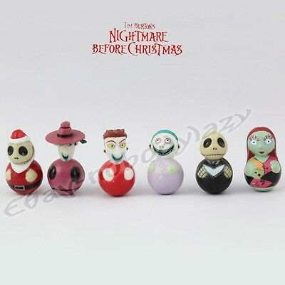 6pcs Nightmare Before Christmas Jack/Sally 3cm/1.2'' Adornment Figure Set Loose