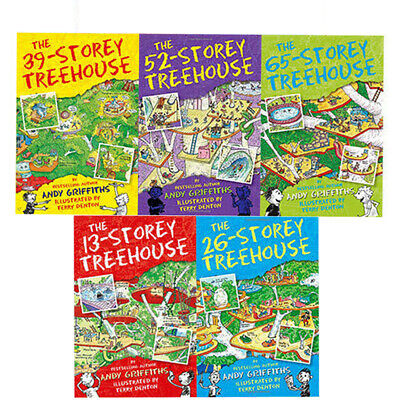 13-Storey Treehouse Collection 5 Books Set By Andy Griffiths & Terry Denton NEW