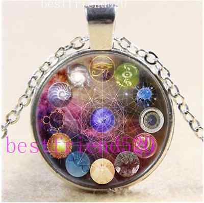 Sacred Geometry Cabochon Glass Tibet Silver Chain Pendant Necklace