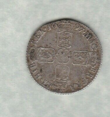 1697 William Iii Silver Shilling In Good Fine Condition