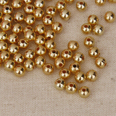 100 Pics of Seed Acrylic Beads Pearl Gold Loose Jewelry Seeds for Women 6mm