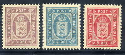 DENMARK 1899-1906 Official set of 3 perforated 12½, MNH / LHM