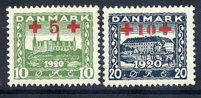 DENMARK 1921 Red Cross surcharge set, MNH / **