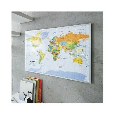 World Map Pin Board 90x60cm Includes 12 Flags Pins Office English Noticeboard