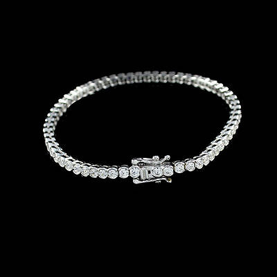 "3ct D/VSS1 Diamond 14K Gold Over Semi Bezel Set 7.25"" Tennis Bracelet FINE EDH"