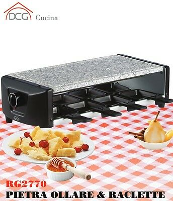 DCG RG 2770 PIETRA OLLARE GRILL BISTECCHIERA ELETTRICA RACLETTE 8 POSTI mshop