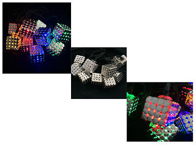 10/ 20 Led Magic Cube Colour Changing String Party Lights Bright Solar Garden