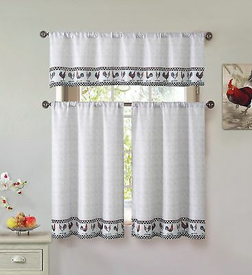 Tan Beige Farmhouse 3 Piece Kitchen Curtains Set Roosters Black Checked Pattern