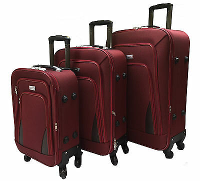 4 Wheel Spinner Suitcase Set Luggage Trolley Case Cabin Hand Canvas - RED