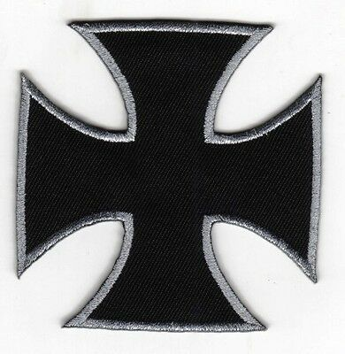 Black white silver Maltese cross Choppers forever design iron on patch Bikers