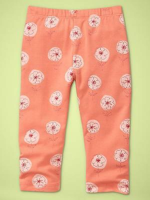Nwt 12-18 Mon Adorable Baby Gap Floral Leggings Coral Pants Twins Girls Gift!