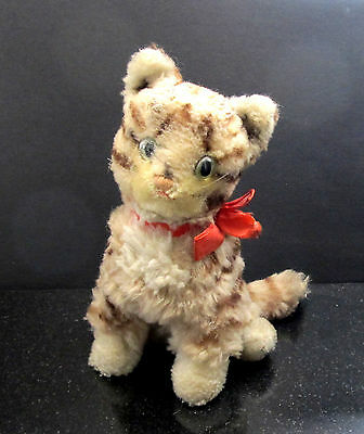 VINTAGE 1970 Steiff TABBY CAT Stuffed Animal with Ear Button