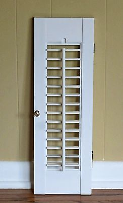 "1 Panel Old Shabby Window Wood Louver Shutters 20"" x 6.5"" Off White Color"